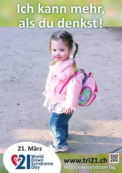 Poster eines kleinen Mädchens mit Down Syndrom